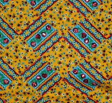 "Calico Cotton Fabric Mustard Yellow-Blue Floral Quilt-Dolls-Crafts ​43""w x 35""lg"