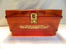 VINTAGE  CLEAR AMBER 9 ½ INCH SEWING BOX WITH TRAY