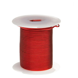 "18 AWG Gauge Enameled Copper Magnet Wire 4 oz 50' Length 0.0415"" 155C Red"