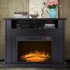 """TV Stand Media Fireplace 41"""" Entertainment Storage Wood Console Electric Heater"""
