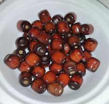 """50 Wooden Barrel Pony Beads Red Brown 1/2"""" x 1/2"""" Hole size 1/4"""" Jewelry Macrame"""