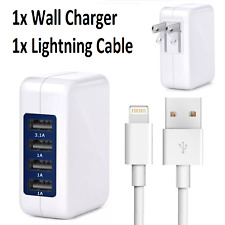 4 Port USB Wall Charger 15W 3.1A Adapter + Lightning Cable for iPhone X 8 7 6 5