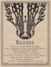 Badger Spirit Animal Totem Prayer Parchment-Color Poster Print Sheet 8.5x11