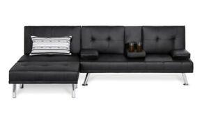 Faux Leather 3-Piece Modern Sectional Sofa Set Double Futon Seat Footrest Black