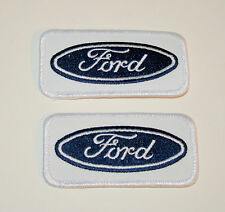 2 Vtg Ford Service Dept Automotive Dealer Car White Cloth Patch New NOS 1970s