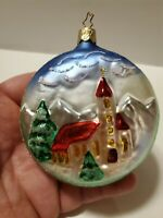 Vintage Old World Christmas Church - Round Flat Embossed Church ORNAMENT