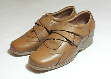 Tan Brown Leather Shoes Low Wedge Heel Strap Detail New in Box UK 4 #168