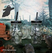 POTTERY BARN SKULL TO-GO MUGS (2) -NIB- A GHOULISHLY FUN PAIR TO DRAW FROM!