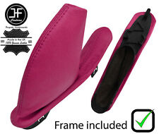 HOT PINK REAL LEATHER HANDBRAKE GAITER WITH PLASTIC FRAME FOR MG ZT ZT-T 99-05