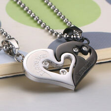 2Pcs Couples Love Heart Stitching Pendant Chain Necklace for Valentine Gift