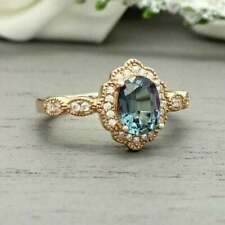3Ct Oval Cut London Blue Topaz Diamond Halo Engagement Ring 14K Rose Gold Finish