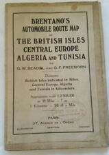 1910s WW1 era Brentanos Auto map of Britain Europe Algeria 40 x 35