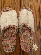 Hand-made Flats Cotton Linen Ruffles Lace Paisley Slippers Indoor Slip On Mules