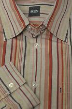 Hugo Boss  Men's Stone Brown Multi Stripe Cotton Casual Shirt XL XLarge