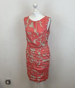 Coast Pencil Dress Floral Ruched Coral & Beige Sz 14 UK Ladies