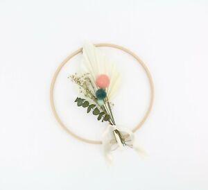 Trockenblumenkranz Blumenring Filzkugeln & Pom Poms 20 cm Eukalyptus Palmenblatt