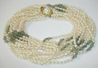 """Vintage Multi Strand Necklace Glass Faux Pearl Jade Gold Tone 22"""""""