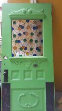 Antique stained glass door, 1920 Era. All original brass hardware