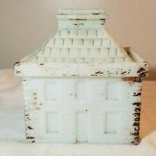 OLD WESTMORELAND SPECIALTY CO. MUSTARD JAR MILKGLASS SCHOOLHOUSE BANK GRAPEVILLE