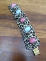 ART DECO  movable stones SILVER Chunky link Victorian Vintage Statement Bracelet