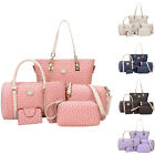 6PC Set Women Lady Shoulder Hobo Bag PU Leather Purse Tote Handbag Crossbody Hot