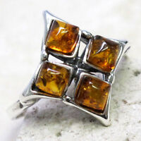 LOVELY BALTIC AMBER 925 STERLING SILVER RING SIZE 5-10