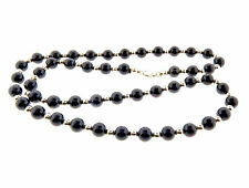 Tiffany & Co. Sterling Silver &  Black Onyx Beads Necklace 10mm 30""