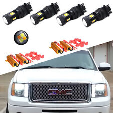 4X White/Amber DRL Turn Signal Parking Light Bulbs For 2000-2014 GMC Sierra 1500