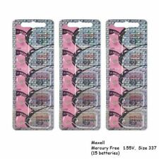 Maxell 337 SR416SW V337 LR416 D337 SR416 Silver Oxide Watch Batteries (15 Pcs)