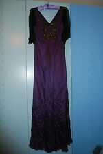 BNWT in box BIBA glitzy embellished purple real silk evening dress, UK size 8