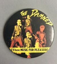 Vtg Original 1977 The Damned Pin Badge Button Punk Music 55mm Music For Pleasure
