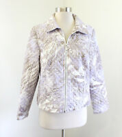 NWT Chico's Diamond Quilted Paisley Print Zip Front Jacket Chicos Size 1 Purple