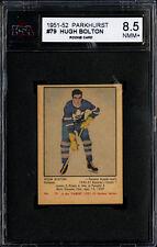 1951-52 PARKHURST #79 HUGH BOLTON ROOKIE CARD TORONTO MAPLE LEAFS KSA 8.5 NM-MT+