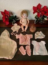 "Vintage Porcelain Doll - 7 1/2"" - German? Human Hair & Clothes"