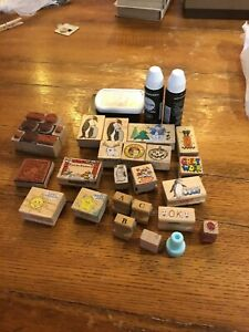 Lot Of 30 Rubber Stamps Scrap Booking Collection Random