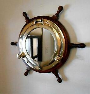 Nautical Porthole Captain Ship Wheel Decal Wall Mirror Wooden Hanging Decor Gift