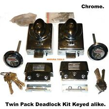 DEAD LOCK KIT WITH SAFETY RELEASE- TWIN PACK KIT-WITH 6 KEYS- TOP QUALITY-  NEW.