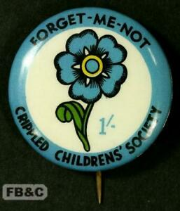 c1950/60s Crippled Childrens' Society 2/- Pin Badge - Forget-Me-Not - Blue Rim