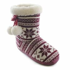 Womens/Ladies Footwear Fairsle Knitted Boot/Bootee Slippers With Cream Plush