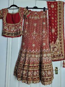 *Broken Zip* Heavy Indian Red Wedding Bridal Lengha Dress Walima XS 6