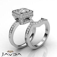 Princess Cut Bridal Set Diamond Pave Engagement Ring GIA G SI1 Platinum 2.6 ct