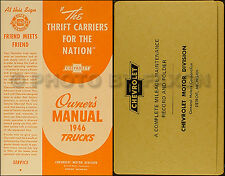 1946 Chevrolet Pickup and Truck Owners Manual with Envelope 46 Chevy Owner Guide