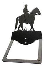 Male western horseback rider black metal towel ring / towel holder
