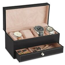 VonHaus Watch and Cufflink Display Jewellery Box with Drawer -Black Faux Leather