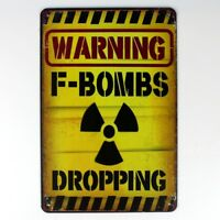 Metal Tin Sign warning bombs dropping Decor Bar Pub Home Vintage Retro