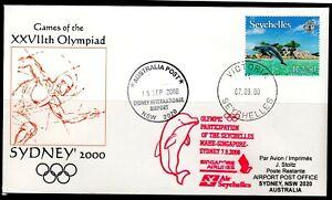 Seychelles Flight Cover 07.09.2000 Olympia Sydney Dolphin