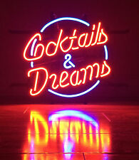 "Cocktails And Dreams Real Glass For Beer Bar Store Party Decor Neon Signs17""X14"""