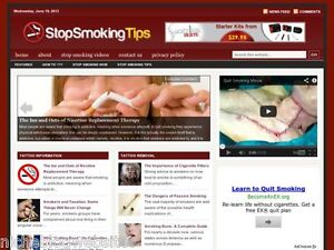 Stop Tobacco / Quit Smoking Tips Wordpress Blog Site For Sale!