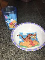 Disney Winnie The Pooh Bear Zak Designs Lot Melamine Plate Bowl Cup Lot of 2