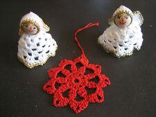 2 Weihnachtsengel und 1 Stern gehäkelt Handarbeit Stoff